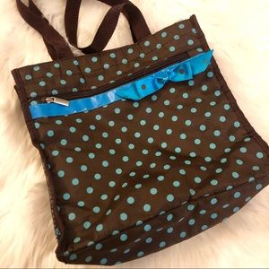 Brown Tote with Teal Polka Dots